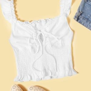 Embroidered Smocked Self-Tie Cami Top